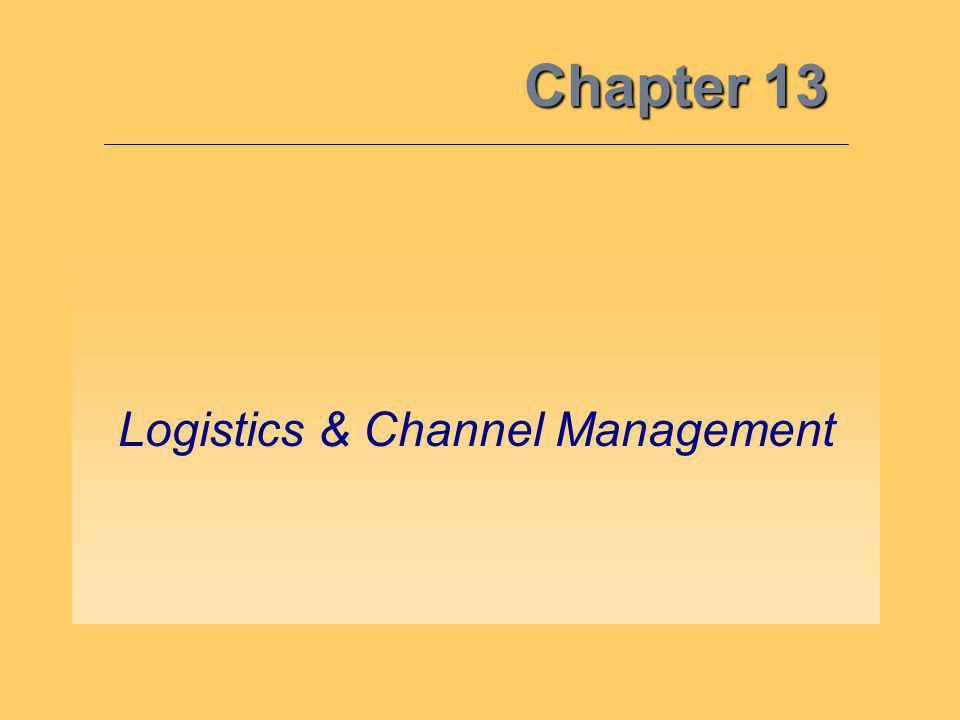 Chapter 13 Logistics & Channel Management