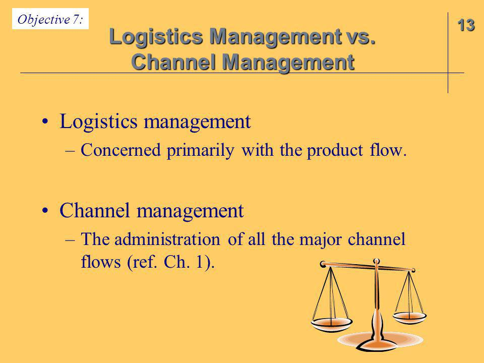 Logistics management –Concerned primarily with the product flow. Channel management –The administration of all the major channel flows (ref. Ch. 1). 1