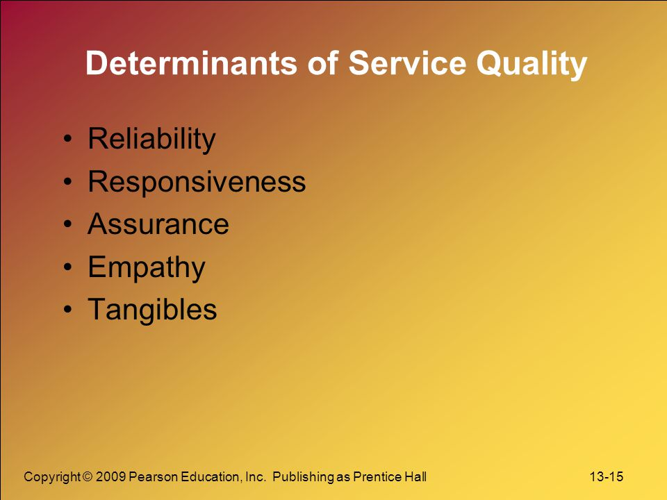Copyright © 2009 Pearson Education, Inc. Publishing as Prentice Hall 13-15 Determinants of Service Quality Reliability Responsiveness Assurance Empath