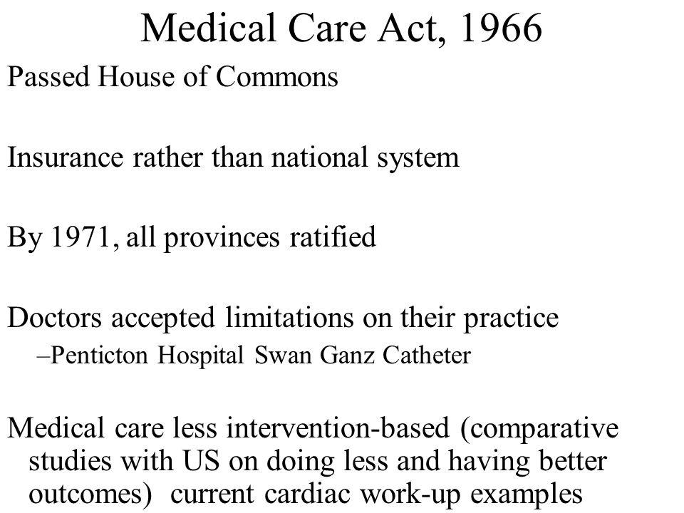 Medical Care Act, 1966 Passed House of Commons Insurance rather than national system By 1971, all provinces ratified Doctors accepted limitations on t