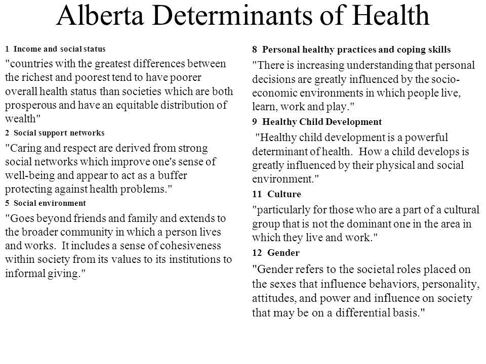 Alberta Determinants of Health 1 Income and social status