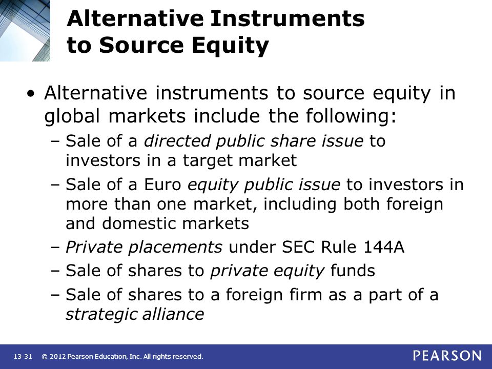 © 2012 Pearson Education, Inc. All rights reserved.13-31 Alternative Instruments to Source Equity Alternative instruments to source equity in global m
