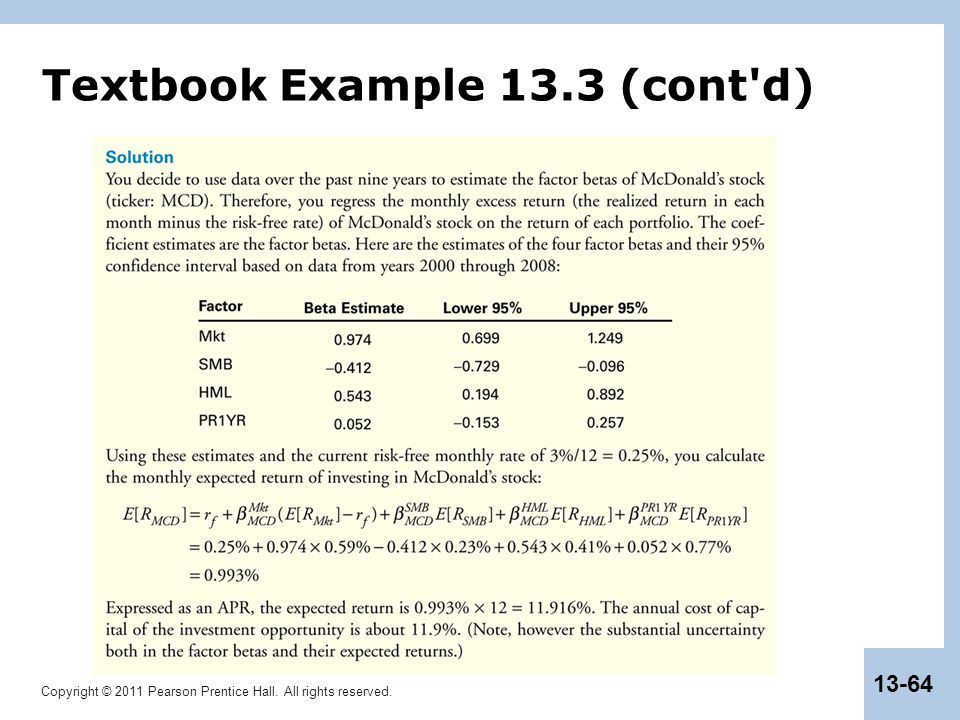 Copyright © 2011 Pearson Prentice Hall. All rights reserved. 13-64 Textbook Example 13.3 (cont d)