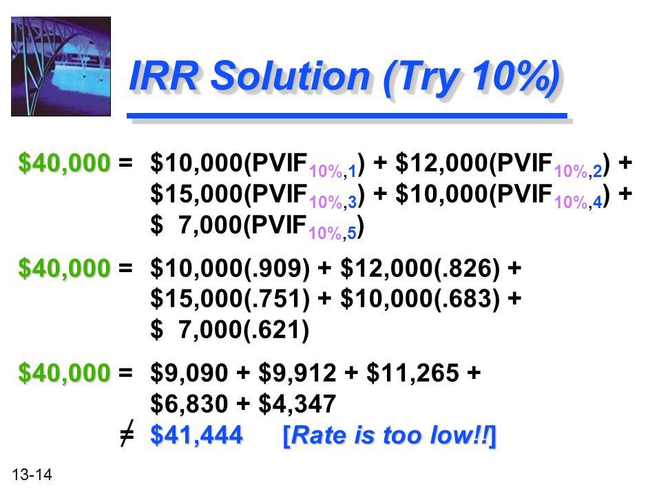 13-14 IRR Solution (Try 10%) $40,000 $40,000 = $10,000(PVIF 10%,1 ) + $12,000(PVIF 10%,2 ) + $15,000(PVIF 10%,3 ) + $10,000(PVIF 10%,4 ) + $ 7,000(PVI