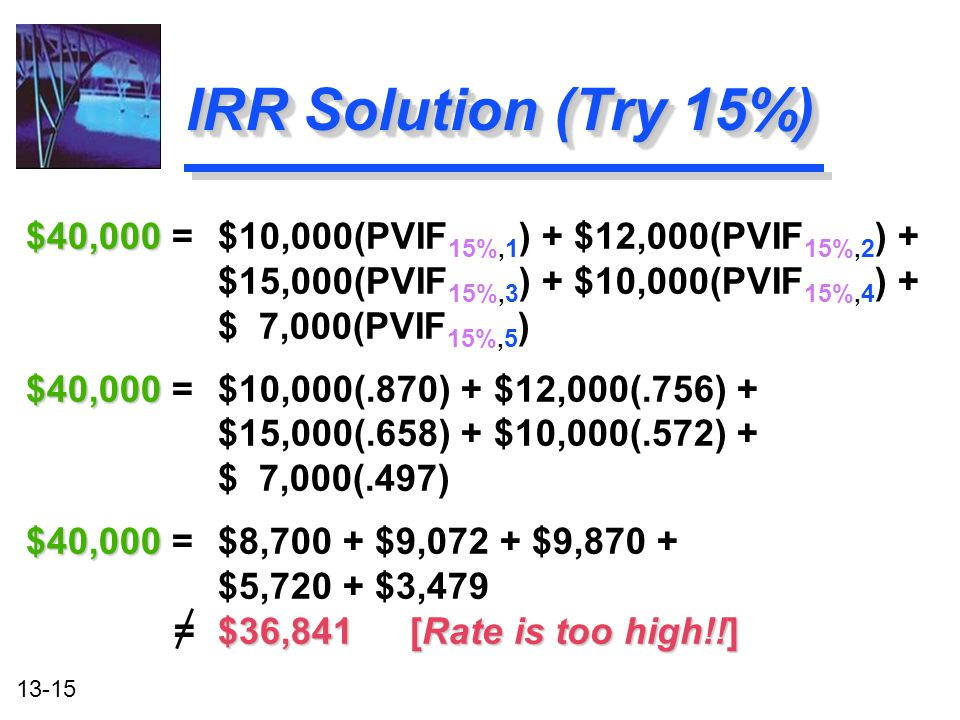 13-15 IRR Solution (Try 15%) $40,000 $40,000 = $10,000(PVIF 15%,1 ) + $12,000(PVIF 15%,2 ) + $15,000(PVIF 15%,3 ) + $10,000(PVIF 15%,4 ) + $ 7,000(PVI