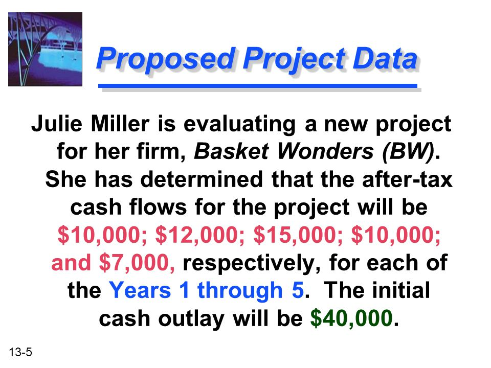 13-5 Proposed Project Data Julie Miller is evaluating a new project for her firm, Basket Wonders (BW). She has determined that the after-tax cash flow