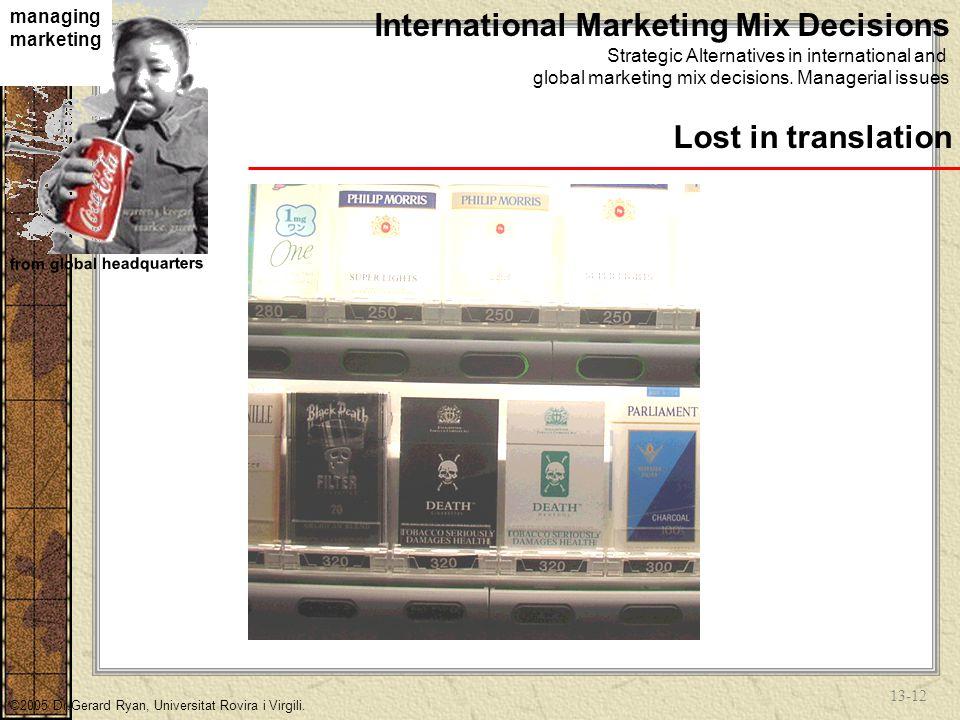 13-11 managing marketing from global headquarters ©2005 Dr.Gerard Ryan, Universitat Rovira i Virgili.