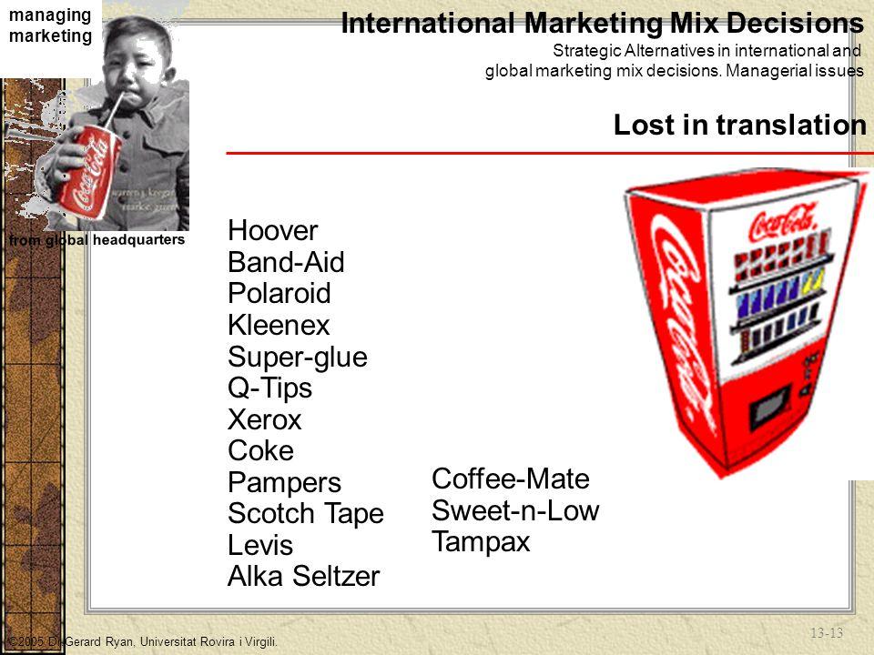 13-12 managing marketing from global headquarters ©2005 Dr.Gerard Ryan, Universitat Rovira i Virgili.
