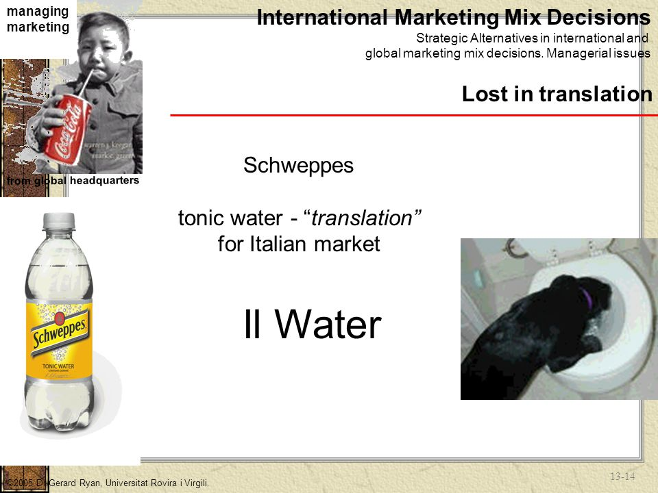 13-13 managing marketing from global headquarters ©2005 Dr.Gerard Ryan, Universitat Rovira i Virgili.