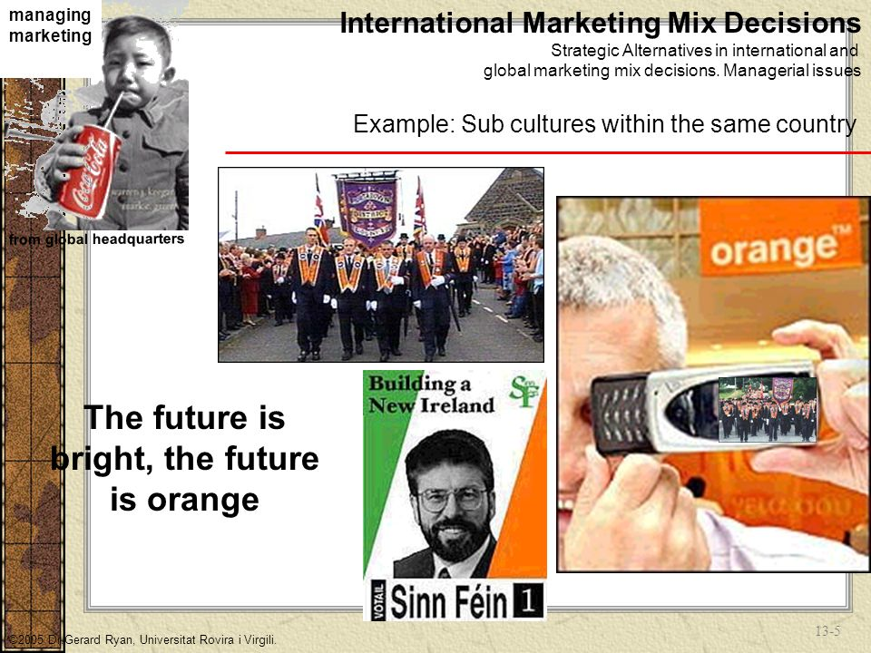 13-15 managing marketing from global headquarters ©2005 Dr.Gerard Ryan, Universitat Rovira i Virgili.