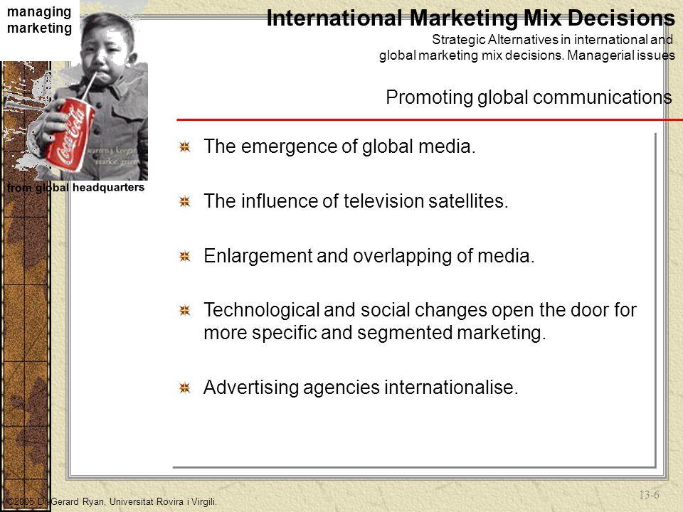 13-16 managing marketing from global headquarters ©2005 Dr.Gerard Ryan, Universitat Rovira i Virgili.