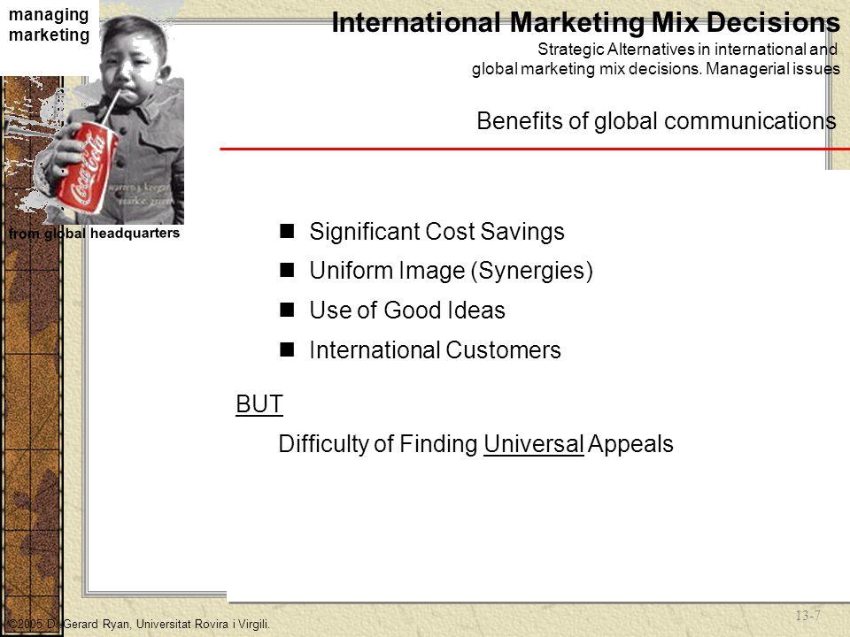 13-7 managing marketing from global headquarters ©2005 Dr.Gerard Ryan, Universitat Rovira i Virgili.