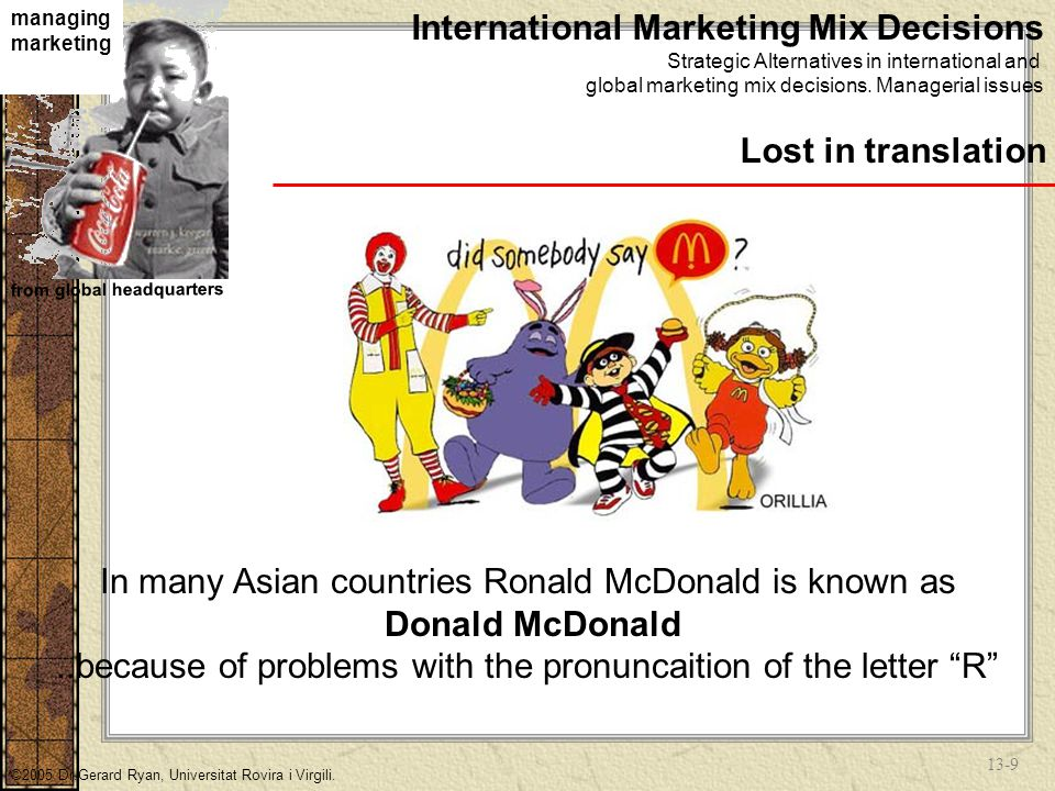 13-29 Global Media Decisions Prepare new copy for foreign markets in host country's language Translate the original copy into target language Leave some or all copy elements in home country language