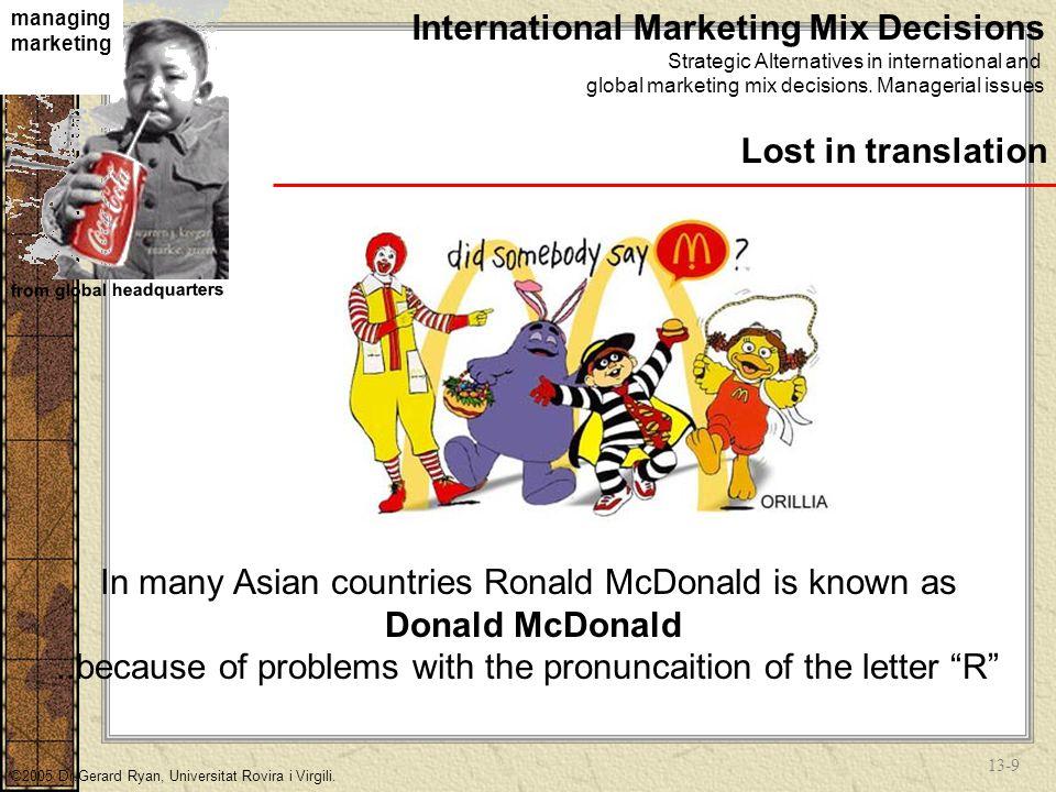 13-8 managing marketing from global headquarters ©2005 Dr.Gerard Ryan, Universitat Rovira i Virgili.