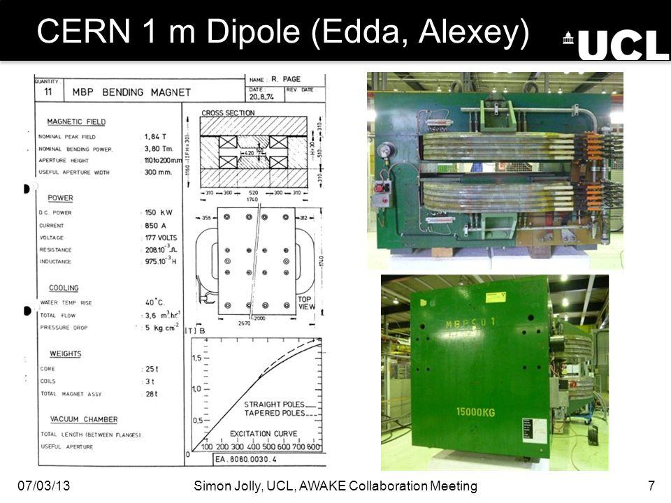 CERN 1 m Dipole (Edda, Alexey) 07/03/13Simon Jolly, UCL, AWAKE Collaboration Meeting7