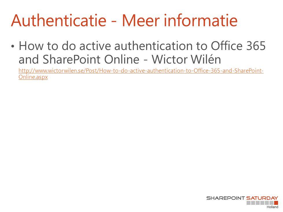 Authenticatie - Meer informatie
