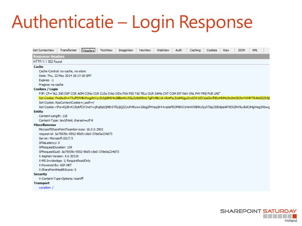 Authenticatie – Login Response