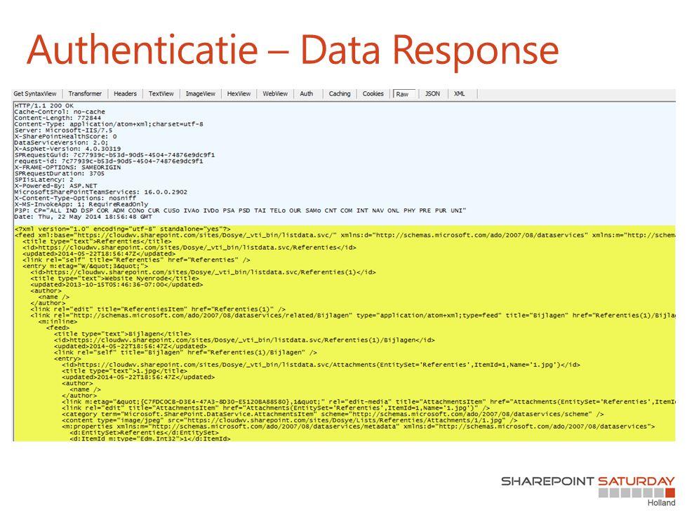 Authenticatie – Data Response