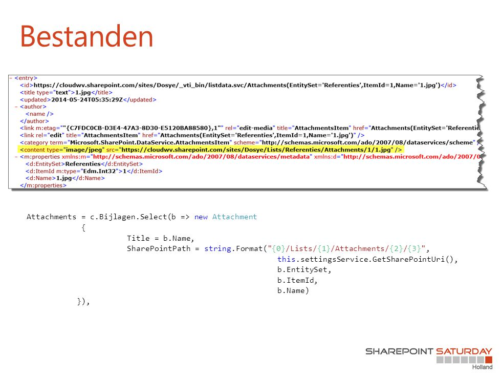 Attachments = c.Bijlagen.Select(b => new Attachment { Title = b.Name, SharePointPath = string.Format(
