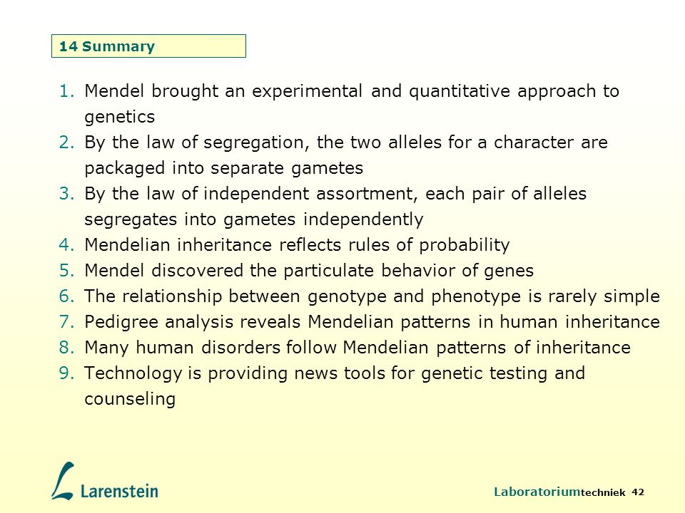 Laboratorium techniek 42 14 Summary 1.Mendel brought an experimental and quantitative approach to genetics 2.By the law of segregation, the two allele