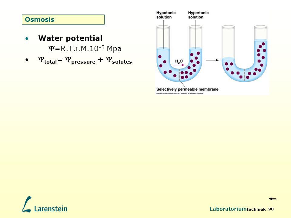 Laboratorium techniek 90 Osmosis Water potential =R.T.i.M.10 –3 Mpa  total =  pressure +  solutes