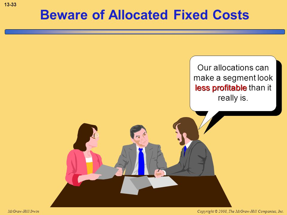 Copyright © 2008, The McGraw-Hill Companies, Inc.McGraw-Hill/Irwin 13-33 Beware of Allocated Fixed Costs Our allocations can make a segment look less