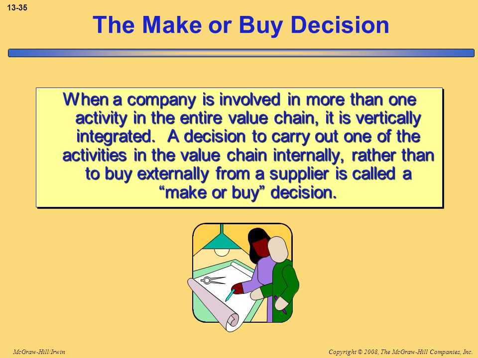 Copyright © 2008, The McGraw-Hill Companies, Inc.McGraw-Hill/Irwin 13-35 The Make or Buy Decision When a company is involved in more than one activity