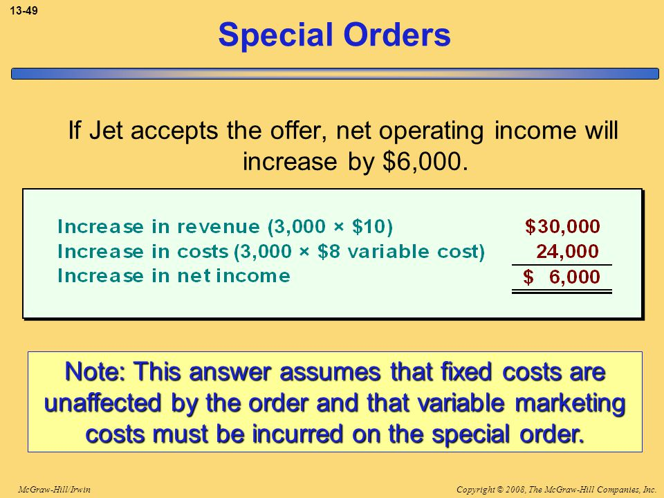 Copyright © 2008, The McGraw-Hill Companies, Inc.McGraw-Hill/Irwin 13-49 Special Orders If Jet accepts the offer, net operating income will increase b