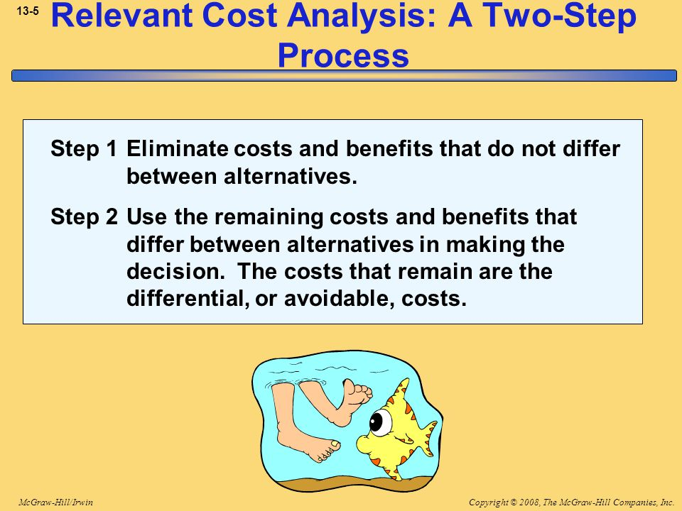 Copyright © 2008, The McGraw-Hill Companies, Inc.McGraw-Hill/Irwin 13-16 Total and Differential Cost Approaches Using the differential approach is desirable for two reasons: 1.Only rarely will enough information be available to prepare detailed income statements for both alternatives.