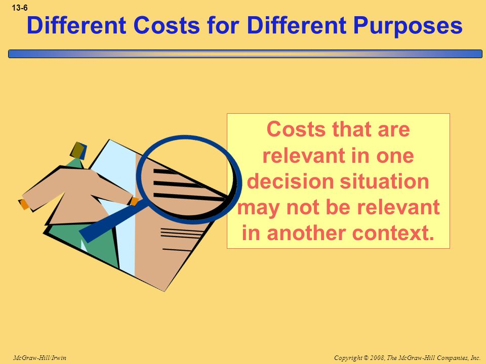 Copyright © 2008, The McGraw-Hill Companies, Inc.McGraw-Hill/Irwin 13-6 Different Costs for Different Purposes Costs that are relevant in one decision