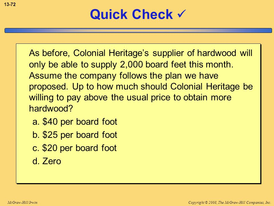 Copyright © 2008, The McGraw-Hill Companies, Inc.McGraw-Hill/Irwin 13-72 Quick Check As before, Colonial Heritage's supplier of hardwood will only be