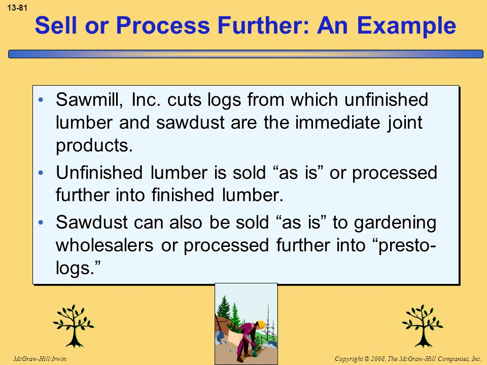 Copyright © 2008, The McGraw-Hill Companies, Inc.McGraw-Hill/Irwin 13-81 Sell or Process Further: An Example Sawmill, Inc. cuts logs from which unfini