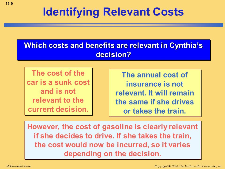 Copyright © 2008, The McGraw-Hill Companies, Inc.McGraw-Hill/Irwin 13-10 Identifying Relevant Costs Which costs and benefits are relevant in Cynthia's decision.