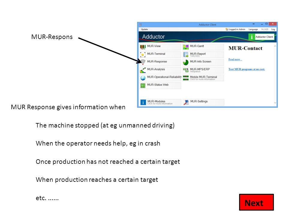 MUR-Respons MUR Response gives information when Next The machine stopped (at eg unmanned driving) When the operator needs help, eg in crash Once produ