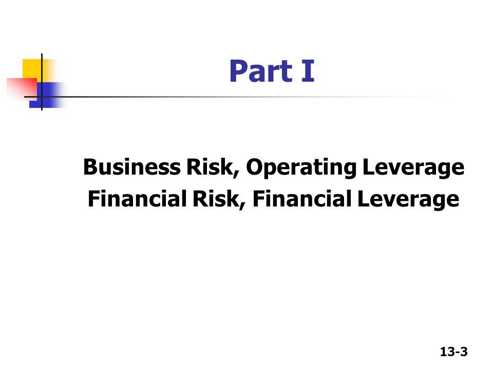 13-3 Part I Business Risk, Operating Leverage Financial Risk, Financial Leverage
