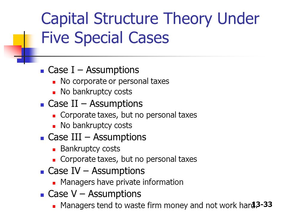 13-33 Capital Structure Theory Under Five Special Cases Case I – Assumptions No corporate or personal taxes No bankruptcy costs Case II – Assumptions