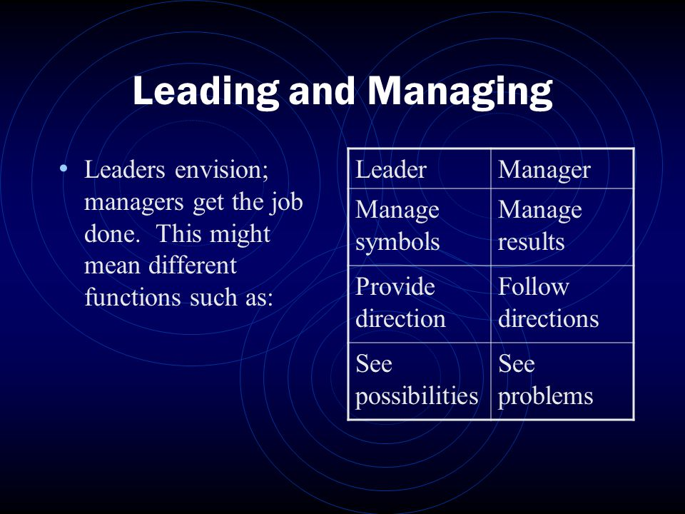 Leading and Managing Leaders envision; managers get the job done.