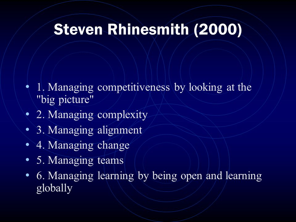 Steven Rhinesmith (2000) 1. Managing competitiveness by looking at the big picture 2.