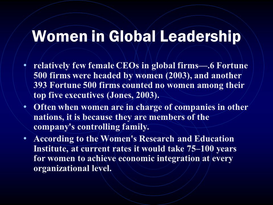 Women in Global Leadership relatively few female CEOs in global firms—.6 Fortune 500 firms were headed by women (2003), and another 393 Fortune 500 firms counted no women among their top five executives (Jones, 2003).