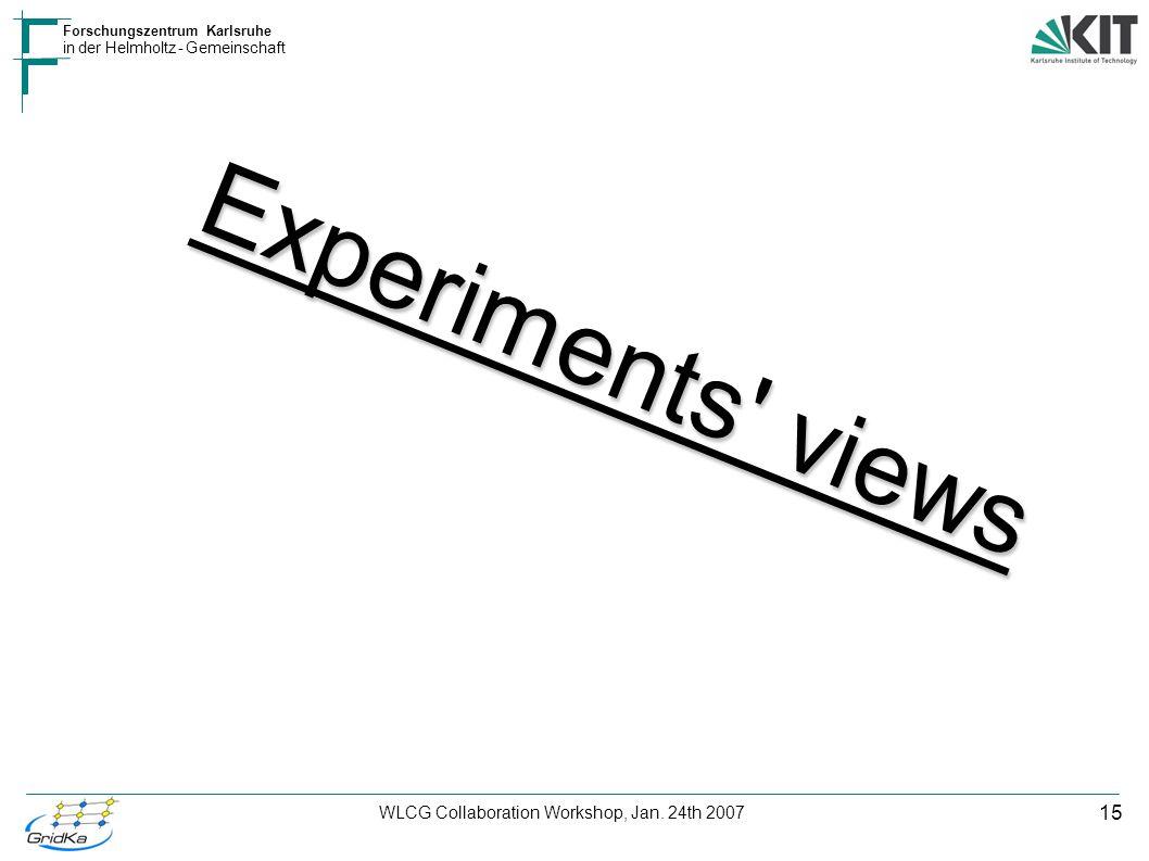 15 Forschungszentrum Karlsruhe in der Helmholtz - Gemeinschaft WLCG Collaboration Workshop, Jan. 24th 2007 Experiments' views