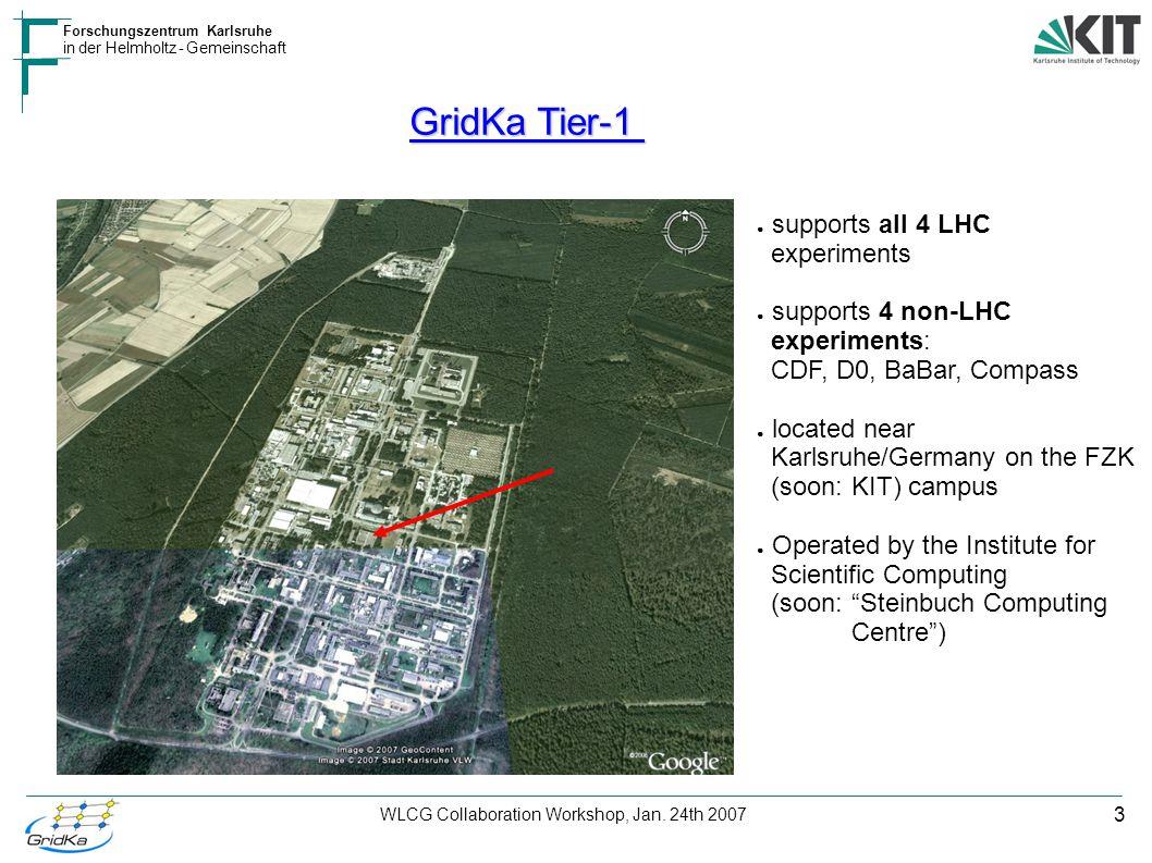 3 Forschungszentrum Karlsruhe in der Helmholtz - Gemeinschaft WLCG Collaboration Workshop, Jan. 24th 2007 GridKa Tier-1 ● supports all 4 LHC experimen