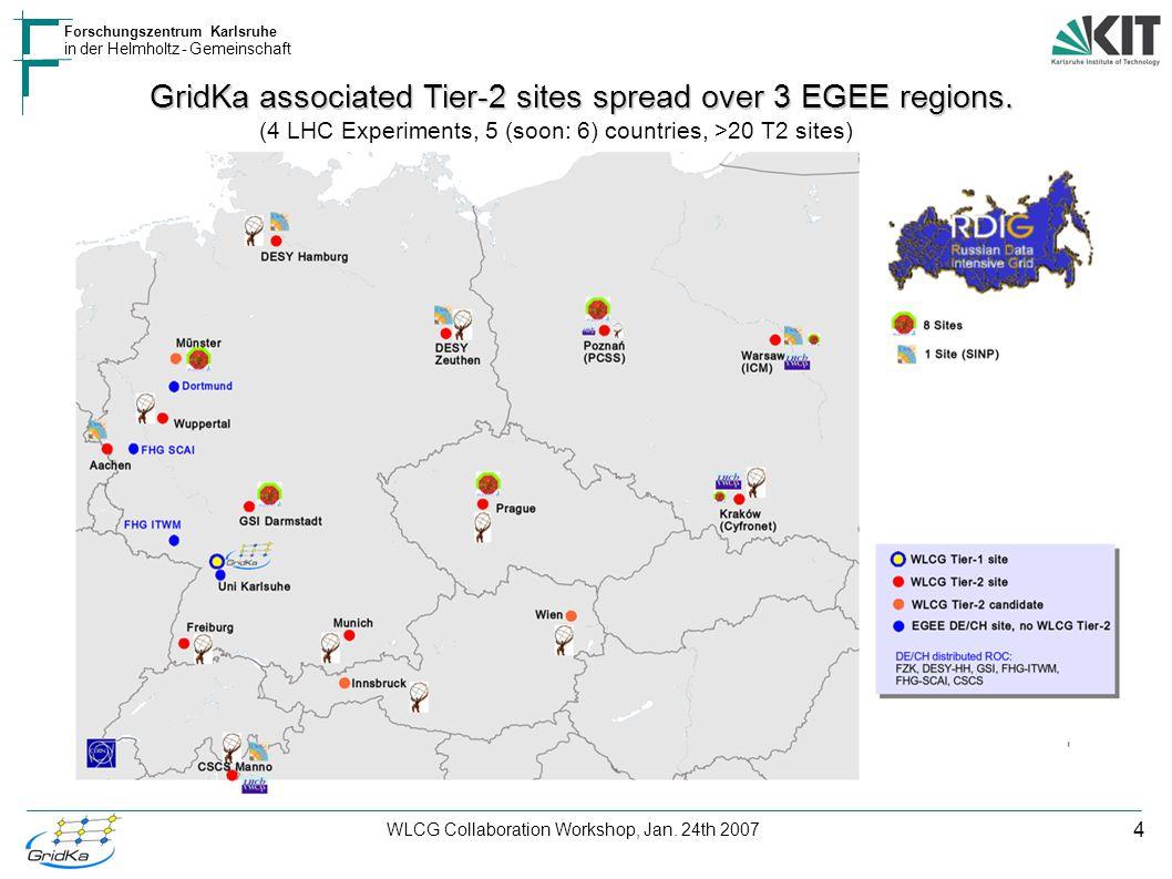 4 Forschungszentrum Karlsruhe in der Helmholtz - Gemeinschaft WLCG Collaboration Workshop, Jan. 24th 2007 GridKa associated Tier-2 sites spread over 3