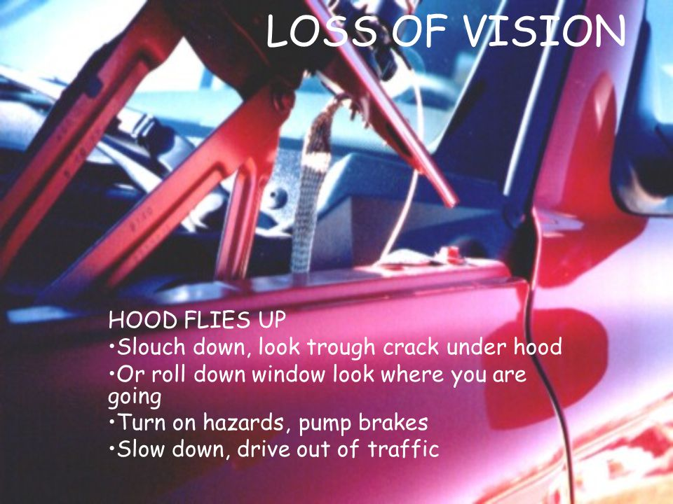 LOSS OF VISION HOOD FLIES UP Slouch down, look trough crack under hood Or roll down window look where you are going Turn on hazards, pump brakes Slow