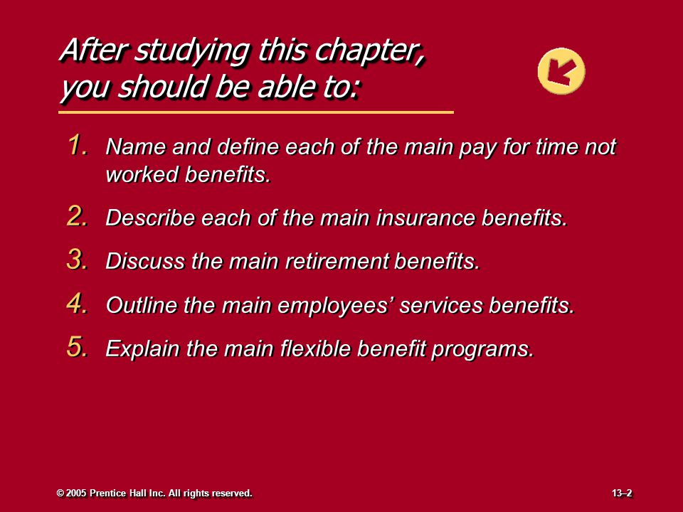 After studying this chapter, you should be able to: 1. Name and define each of the main pay for time not worked benefits. 2. Describe each of the main