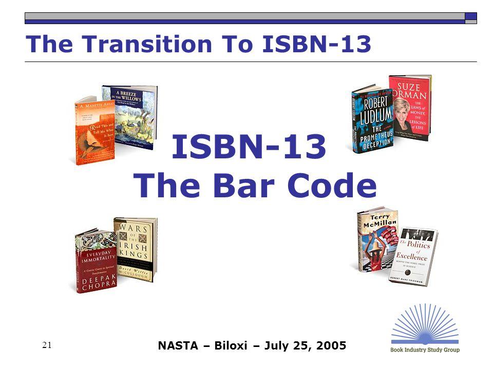 NASTA – Biloxi – July 25, 2005 21 ISBN-13 The Bar Code The Transition To ISBN-13