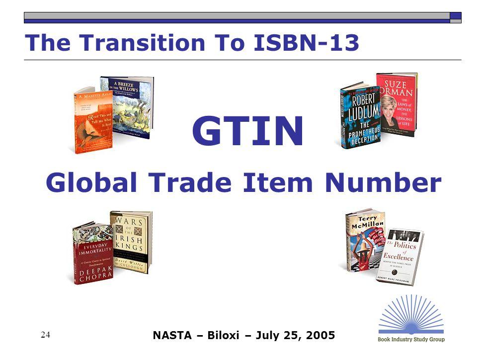 NASTA – Biloxi – July 25, 2005 24 Global Trade Item Number The Transition To ISBN-13 GTIN
