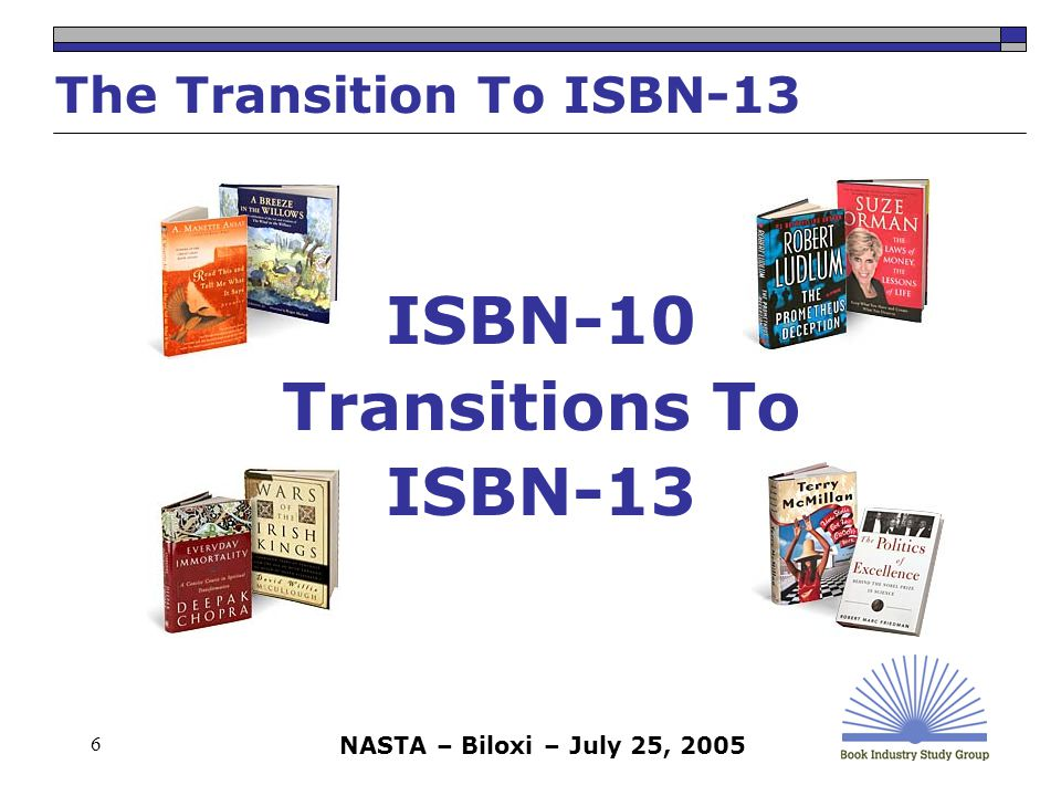 NASTA – Biloxi – July 25, 2005 7 ISBN (ISBN-10) Origin  International Standard Book Number  Developed over 30 years ago to provide a unique, standard identifier for books  Prior to the ISBN, publishers either did not assign numbers to books or assigned proprietary numbers  When ISBN was introduced, transactions between organizations in the book industry were largely manual