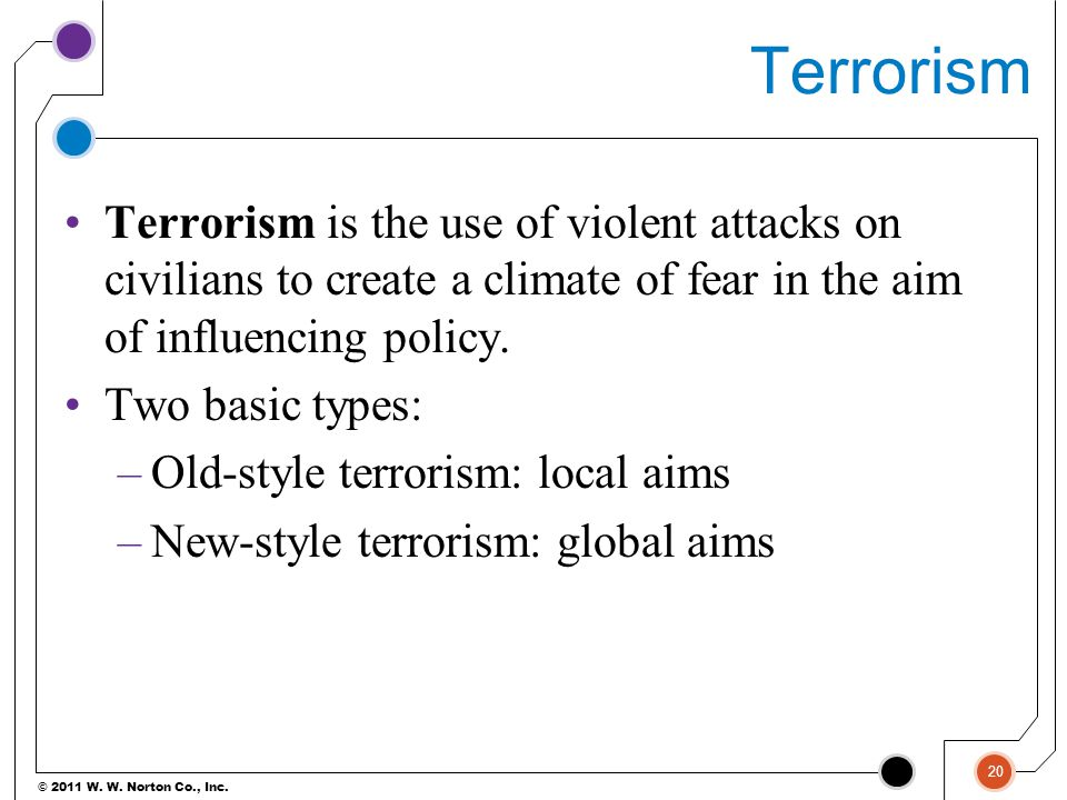 © 2011 W. W. Norton Co., Inc. Terrorism Terrorism is the use of violent attacks on civilians to create a climate of fear in the aim of influencing pol
