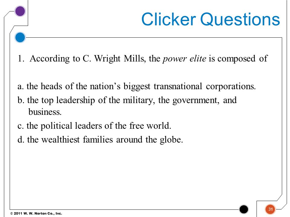 © 2011 W. W. Norton Co., Inc. Clicker Questions 1. According to C. Wright Mills, the power elite is composed of a. the heads of the nation's biggest t