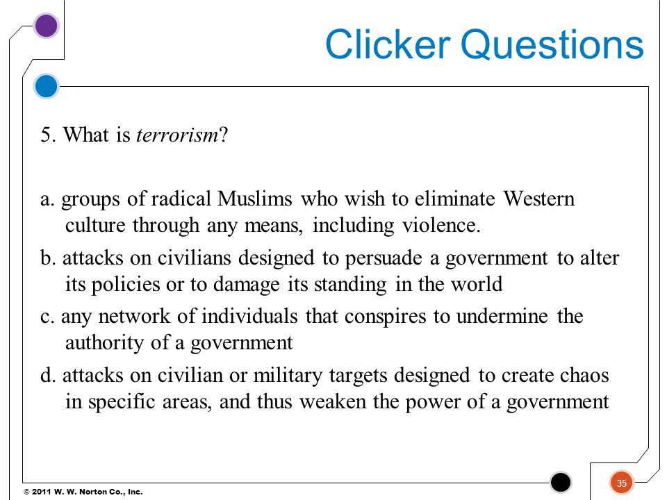 © 2011 W. W. Norton Co., Inc. Clicker Questions 5. What is terrorism? a. groups of radical Muslims who wish to eliminate Western culture through any m